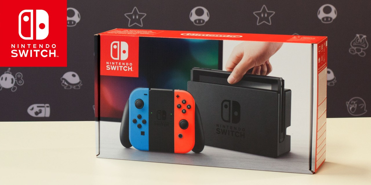 Nintendo Switch caja joy-sticks neon