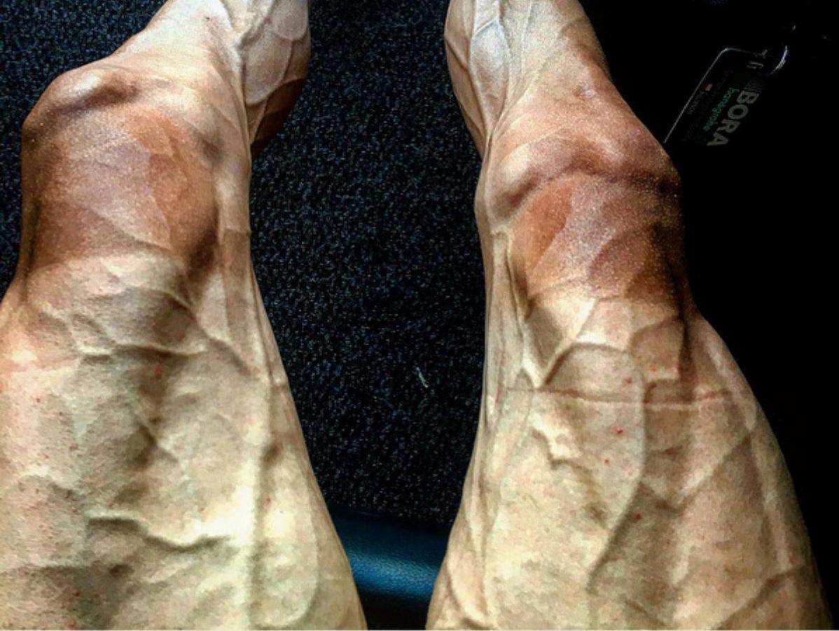 Las piernas del ciclista Pawel Poljanski durante el Tour de Francia