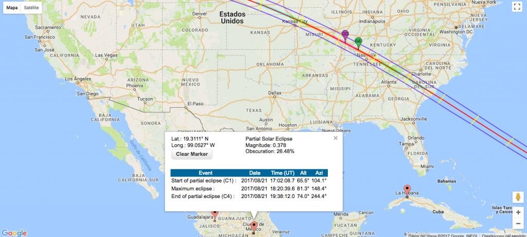 Mapa NASA, eclipse del 21 de agosto en la CDMX