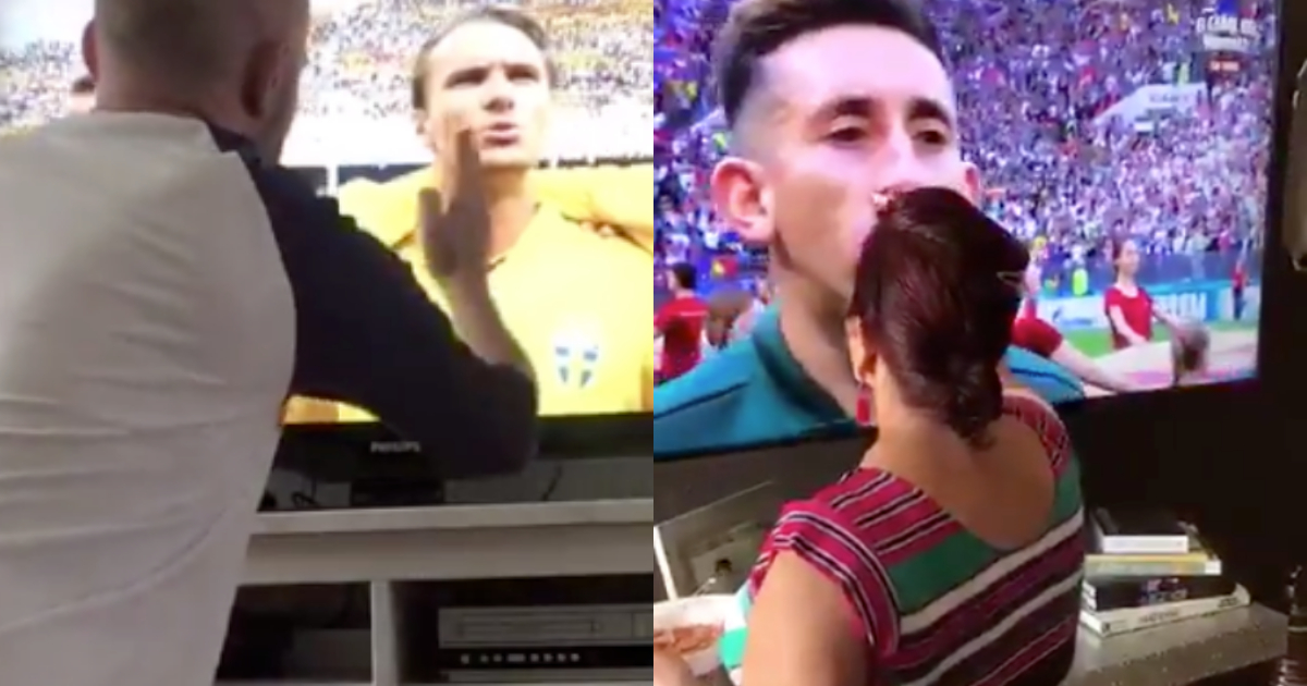Aficionado Sueco Persigna Selección, Selección Suecia, Mundial Rusia 2018, Suecia Vs Corea, Grupo F, Persignar