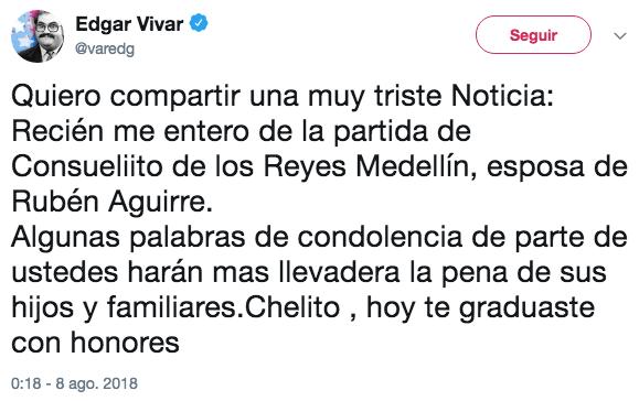 Edgar Vivar Anuncia Muerte esposa Profesor Jirafales