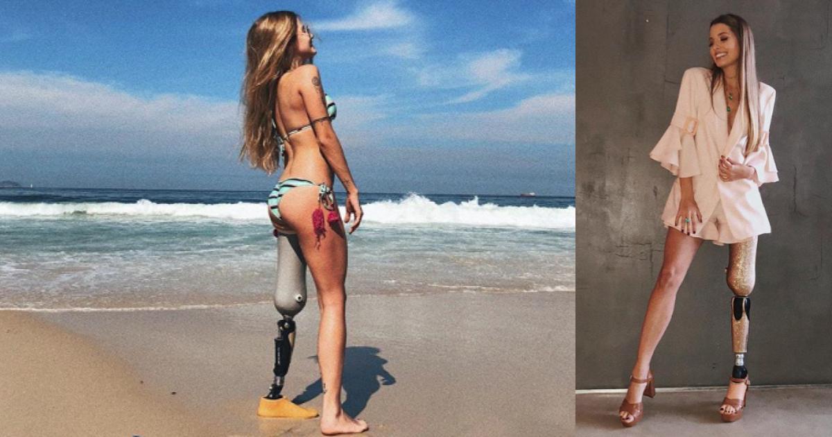 Modelo brasileña con pierna biónica triunfa en Internet