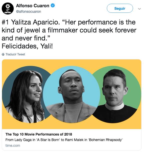 Cuarón felicita a Yalitza Aparicio