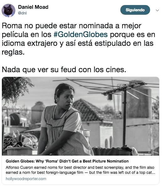 Reacciones a las nominaciones de los Golden Globe