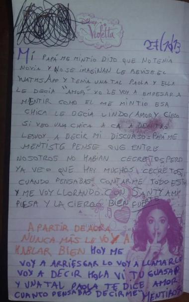 Hija descubre que su padre tenía novia en WhatsApp y le escribe carta