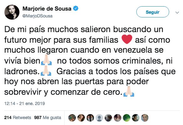 Marjorie de Sousa genera polémica al opinar sobre migrantes