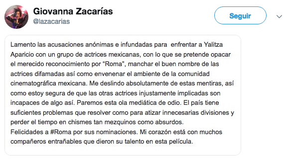 Actrices desmienten complot contra Yalitza Aparicio
