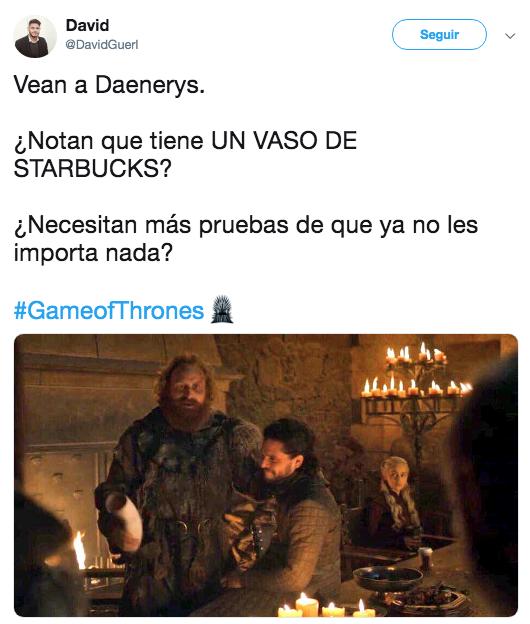 Encuentran vaso de café en el nuevo episodio de Game of Thrones