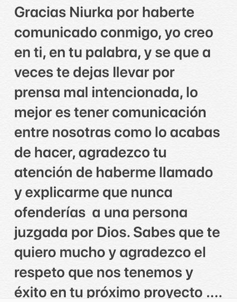 Niurka se disculpa con Carmen Salinas por lo dicho sobre Edith González