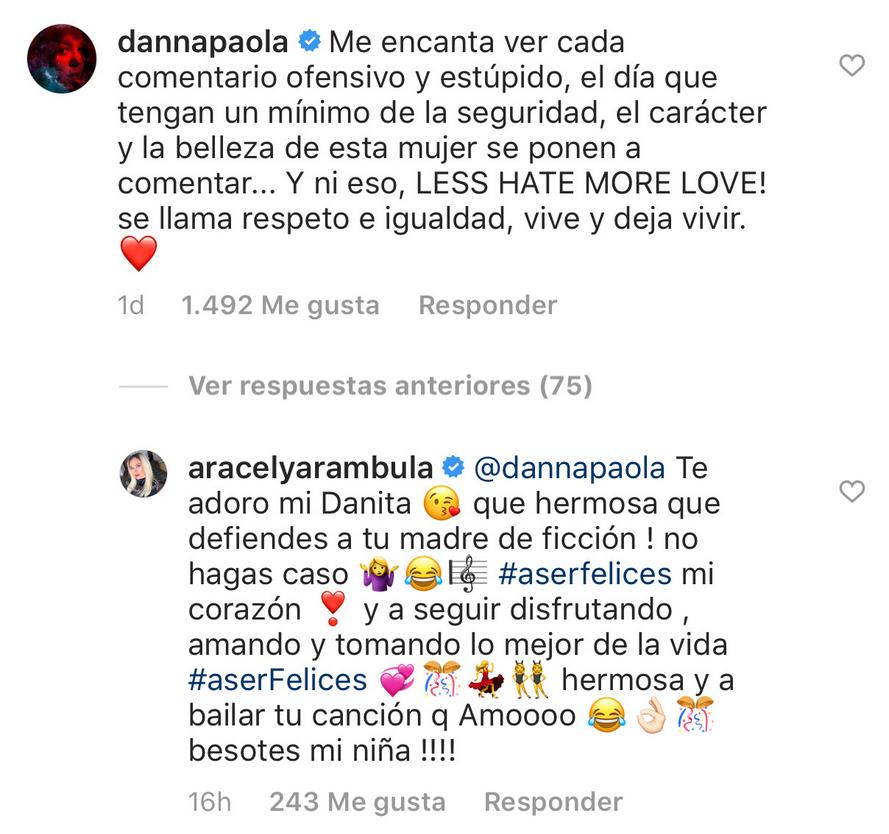 Danna Paola defiende Aracely Arámbula de críticas Instagram