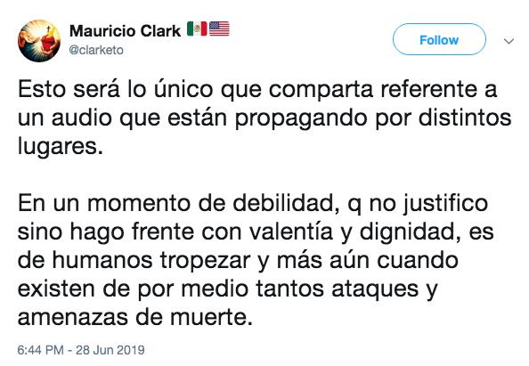 Filtran audio de Mauricio Clark que confirma su recaída en las drogas