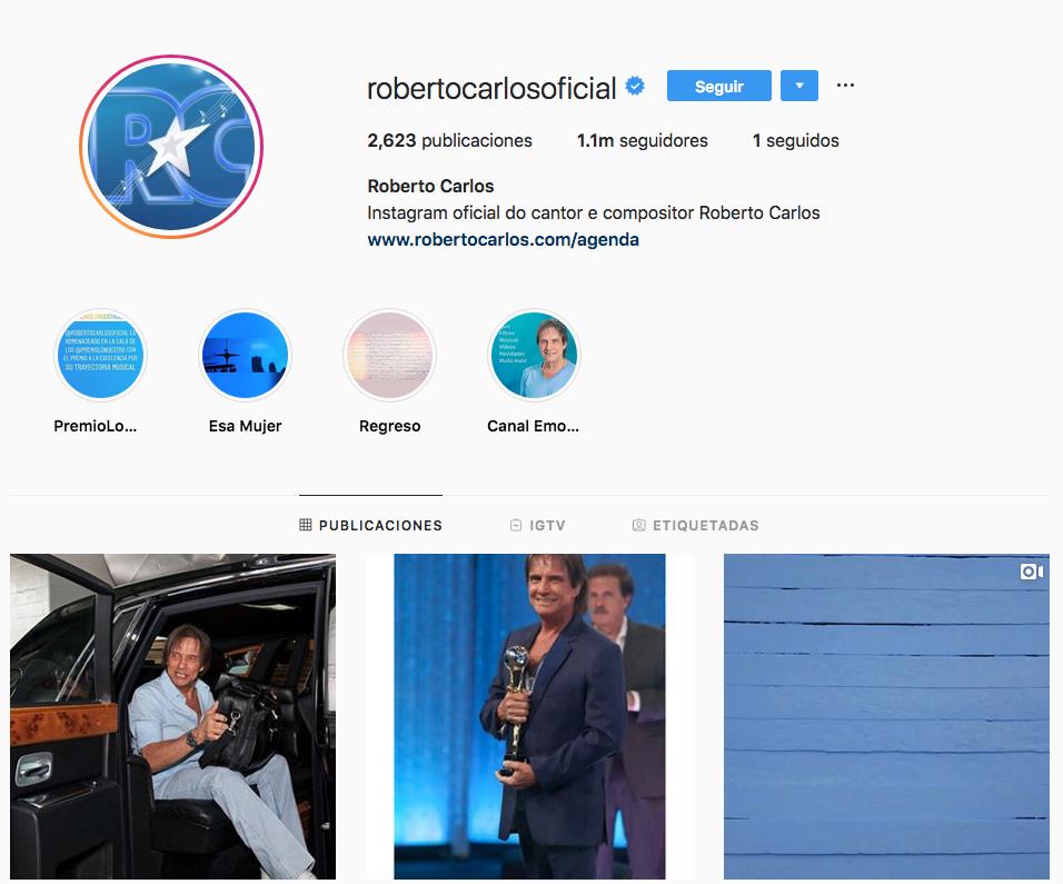 Roberto Carlos alcanza el millón de seguidores en Instagram