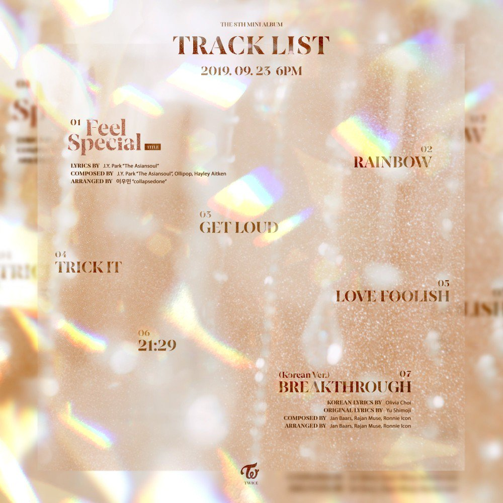 JYPE filtra tracklist de comeback de TWICE con 8vo minialbum