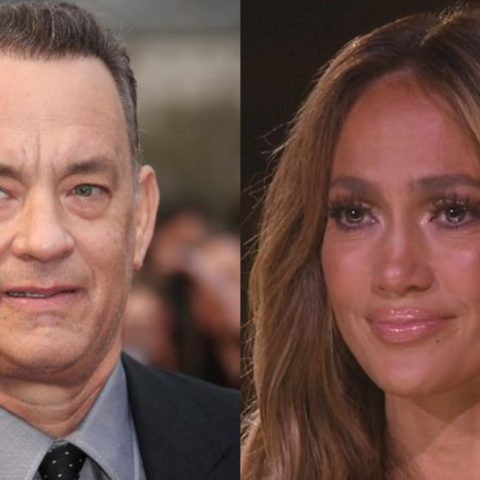 Tom Hanks, Jennifer Lopez, Beso, Mejilla, Tom Hanks Y JLo, Tom Hanks Jennifer Lopez