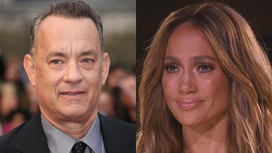Tom Hanks, Jennifer Lopez, Beso, Mejilla, Tom Hanks Y JLo, Tom Hanks Jennifer Lopez
